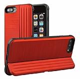 Eiroo Card Slot iPhone 7 Plus / 8 Plus Ultra Koruma Kırmızı Kılıf