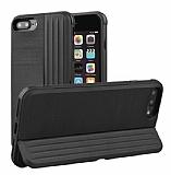 Eiroo Card Slot iPhone 7 Plus / 8 Plus Ultra Koruma Siyah Kılıf