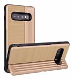 Eiroo Card Slot Samsung Galaxy S10 Ultra Koruma Gold Kılıf