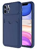 Eiroo Card-X iPhone 11 Pro Max Kamera Korumalı Lacivert Silikon Kılıf