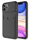 Eiroo Card-X iPhone 11 Pro Max Kamera Korumalı Siyah Silikon Kılıf