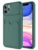Eiroo Card-X iPhone 11 Pro Max Kamera Korumalı Yeşil Silikon Kılıf