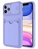Eiroo Card-X iPhone 11 Pro Max Kamera Korumalı Lila Silikon Kılıf