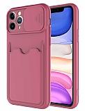 Eiroo Card-X iPhone 11 Pro Max Kamera Korumalı Mor Silikon Kılıf