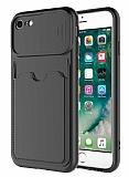 Eiroo Card-X iPhone 7 / 8 Kamera Korumalı Siyah Silikon Kılıf