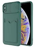 Eiroo Card-X iPhone X / XS Kamera Korumalı Yeşil Silikon Kılıf