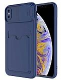 Eiroo Card-X iPhone X / XS Kamera Korumalı Lacivert Silikon Kılıf