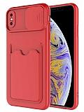 Eiroo Card-X iPhone XS Max Kamera Korumalı Kırmızı Silikon Kılıf