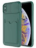 Eiroo Card-X iPhone XS Max Kamera Korumalı Yeşil Silikon Kılıf