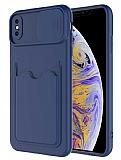 Eiroo Card-X iPhone XS Max Kamera Korumalı Lacivert Silikon Kılıf