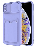 Eiroo Card-X iPhone XS Max Kamera Korumalı Lila Silikon Kılıf