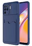 Eiroo Card-X Oppo Reno5 F Kamera Korumalı Lacivert Silikon Kılıf