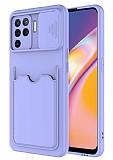 Eiroo Card-X Oppo Reno5 F Kamera Korumalı Lila Silikon Kılıf