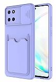 Eiroo Card-X Samsung Galaxy Note 10 Lite Kamera Korumalı Lila Silikon Kılıf