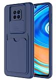 Eiroo Card-X Xiaomi Redmi Note 9 Pro Max Kamera Korumalı Lacivert Silikon Kılıf