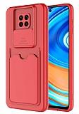 Eiroo Card-X Xiaomi Redmi Note 9 Pro Max Kamera Korumalı Kırmızı Silikon Kılıf