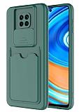 Eiroo Card-X Xiaomi Redmi Note 9 Pro Max Kamera Korumalı Yeşil Silikon Kılıf