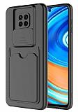Eiroo Card-X Xiaomi Redmi Note 9 Pro Max Kamera Korumalı Siyah Silikon Kılıf