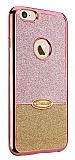 Eiroo Caseology iPhone 7 Simli Rose Gold + Gold Silikon Kılıf