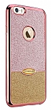 Eiroo Caseology iPhone SE / 5 / 5S Simli Rose Gold + Gold Silikon Kılıf