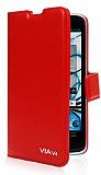 Eiroo Casper Via V4 Standlı Cüzdanlı Kırmızı Deri Kılıf