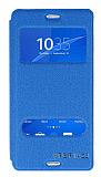 Eiroo Sony Xperia Z3 Vantuzlu Pencereli Mavi Deri Kılıf