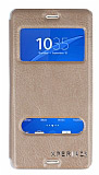 Eiroo Sony Xperia Z3 Vantuzlu Pencereli Gold Deri Kılıf
