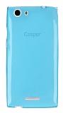 Casper Via V6X Ultra İnce Şeffaf Mavi Silikon Kılıf
