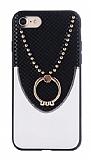 Eiroo Chain iPhone 6 / 6S Selfie Yüzüklü Beyaz Rubber Kılıf