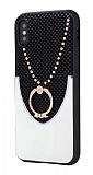 Eiroo Chain iPhone XS Max Selfie Yüzüklü Beyaz Rubber Kılıf