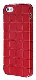 Eiroo Checker iPhone SE / 5 / 5S Metalik Kırmızı Silikon Kılıf