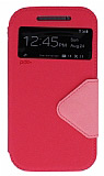 Eiroo Clasps HTC One M8 Standlı Pencereli Pembe Deri Kılıf
