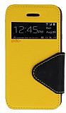 Eiroo Clasps iPhone 4 / 4S Standl� Pencereli Sar� Deri K�l�f