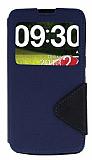 Eiroo Clasps LG G Pro Lite Pencereli Standl� Lacivert K�l�f