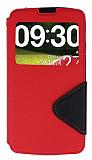 Eiroo Clasps LG G Pro Lite Pencereli Standl� K�rm�z� K�l�f