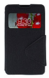 Eiroo Clasps LG Optimus L7 2 Pencereli Standl� Siyah K�l�f