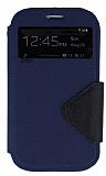 Eiroo Clasps Samsung i9082 Galaxy Grand / i9060 Grand Neo Standl� Pencereli Lacivert Deri K�l�f