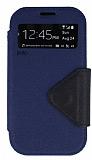 Eiroo Clasps Samsung i9300 Galaxy S3 Standl� Pencereli Lacivert Deri K�l�f