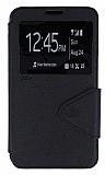 Eiroo Clasps Samsung N7500 Galaxy Note 3 Neo Standlı Pencereli Siyah Deri Kılıf