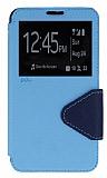 Eiroo Clasps Samsung N7500 Galaxy Note 3 Neo Standlı Pencereli Mavi Deri Kılıf