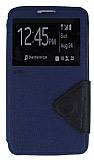 Eiroo Clasps Samsung N9000 Galaxy Note 3 Standlı Pencereli Lacivert Deri Kılıf