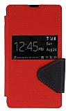 Eiroo Clasps Sony Xperia Z Standl� Pencereli K�rm�z� Deri K�l�f