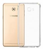 Eiroo Clear Hybrid Samsung Galaxy C7 Pro Silikon Kenarlı Şeffaf Rubber Kılıf