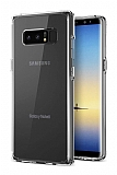 Eiroo Clear Hybrid Samsung Galaxy Note 8 Silikon Kenarlı Şeffaf Rubber Kılıf