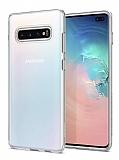 Eiroo Clear Hybrid Samsung Galaxy S10 Plus Silikon Kenarlı Şeffaf Rubber Kılıf