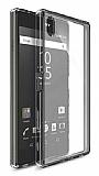 Eiroo Clear Hybrid Sony Xperia Z2 Silikon Kenarlı Şeffaf Siyah Rubber Kılıf
