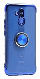 Eiroo Clear Ring Huawei Mate 20 Lite Lacivert Kenarlı Silikon Kılıf