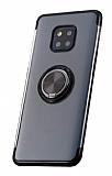 Eiroo Clear Ring Huawei Mate 20 Pro Siyah Kenarlı Silikon Kılıf