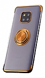 Eiroo Clear Ring Huawei Mate 20 Pro Gold Kenarlı Silikon Kılıf