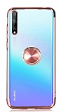 Eiroo Clear Ring Huawei P Smart S Rose Gold Kenarlı Silikon Kılıf